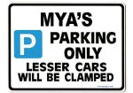 MYA'S Personalised Parking Sign Gift | Unique Car Present for Her |  Size Large - Metal faced